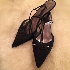 A. Marinelli 8.5 Black Slingback Kitten Heels